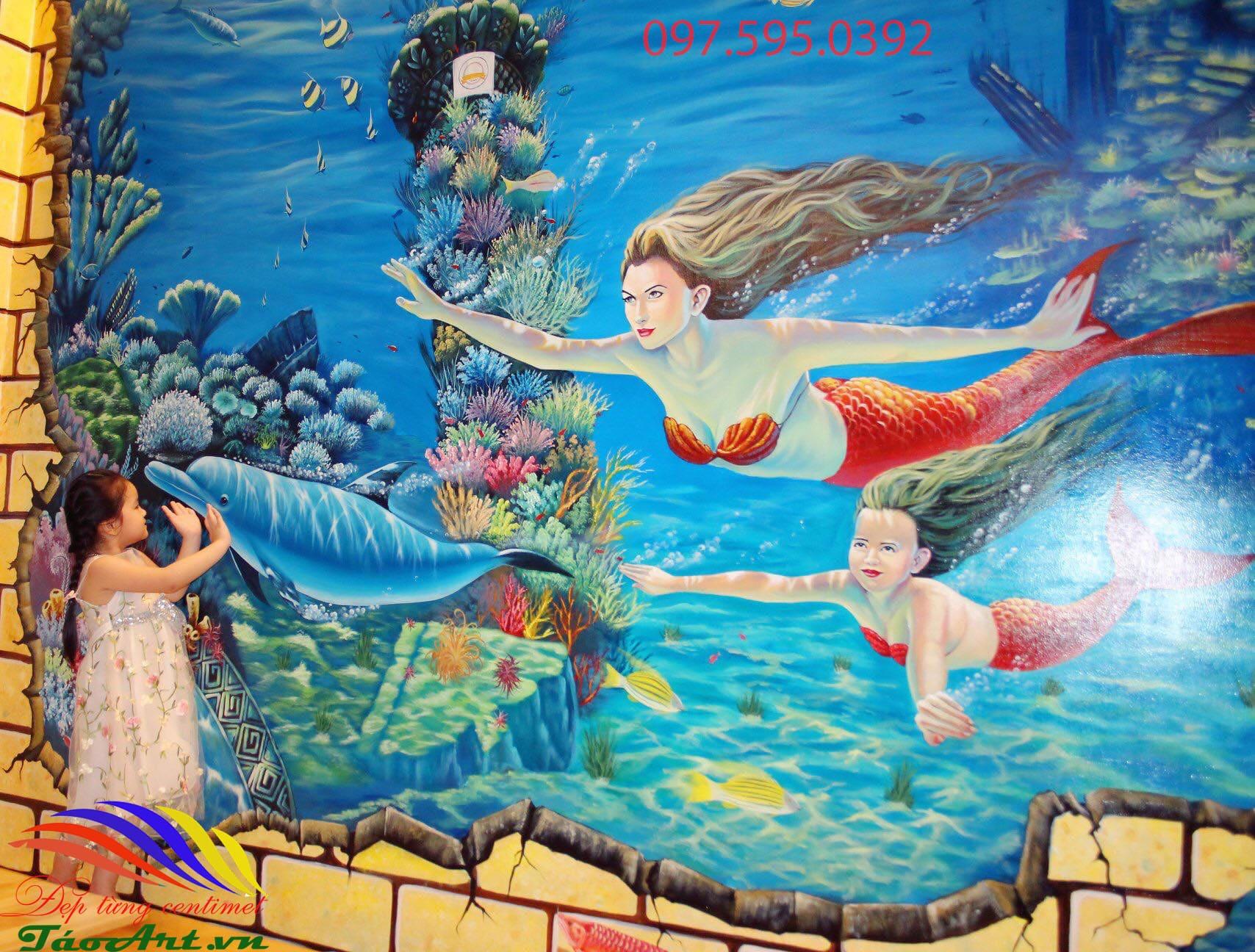 vẽ tranh tường 3d nàng tiên cá